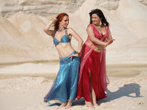 Two bellydance girls Royalty Free Stock Images