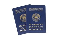 Two belorussian passports on a white background royalty free stock image