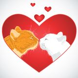 Two beloved cats on the heart shape background. Royalty Free Stock Images