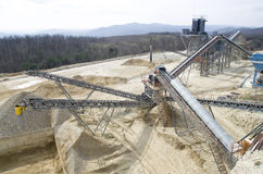 Two  belt conveyors in Gravel Quarry Royalty Free Stock Image