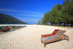 Two bench or deckchair on beach at Koh Lipe Royalty Free Stock Photo