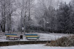 Two bench near the frozen lake royalty free stock photography