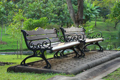 Two bench in the park. Two bench in a little square of a big park Stock Image