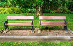 Two bench seat wood Royalty Free Stock Photos
