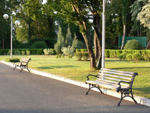 Two benches Royalty Free Stock Photos
