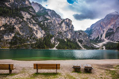 Free Two Benches At The Lake Beach Royalty Free Stock Photography - 85049877