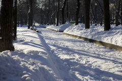 Two benches covered with snow. Tverskoy boulevard. Moscow. Russia Royalty Free Stock Image