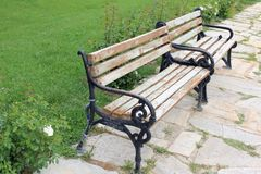 Two benches. Had to take a picture of these two beautiful benches waiting for someone to sit down Stock Photography