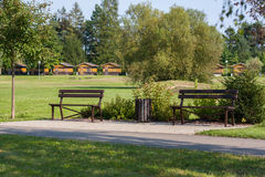 Two benches at path Royalty Free Stock Photography