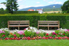 Two benches in the park Royalty Free Stock Photography