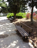 Two benches in  a park Royalty Free Stock Photography