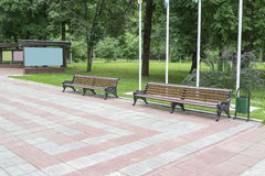 Two benches in the Park. Old benches are in Central Park of the city Royalty Free Stock Images