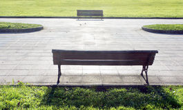 Two benches on park Royalty Free Stock Photography