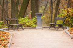 Two benches in Sofiyivsky Park Royalty Free Stock Images