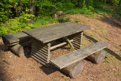 Two benches and a table Stock Images