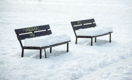 Two Benches in Winter Royalty Free Stock Images
