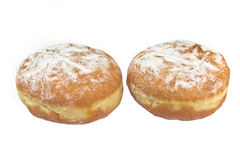 Two berliner donuts powdered with sugar Royalty Free Stock Images