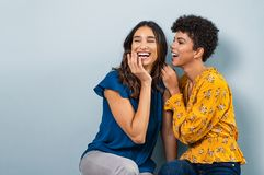 Two gossip women whispering. Two best friend girls whispering a secret. Beautiful latin women and brazilian girl laughing and sharing gossip while sitting royalty free stock images