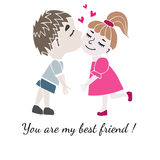 Two best friends boy and girl together with inscription You are Stock Photography