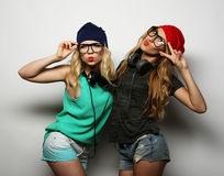 Two best friends hipster girls Stock Image