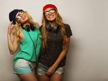 Two best friends hipster girls Stock Photos