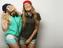 Two best friends hipster girls Stock Images