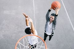The basketball players royalty free stock photo