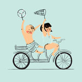 Two best friends ride on tandem bicycle. Flat design. Vector illustration.  Stock Photography