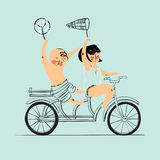 Two best friends ride on tandem bicycle. Flat design. Vector illustration. Isolated Royalty Free Stock Photos