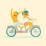 Two best friends ride on tandem bicycle. Vector illustration.  Royalty Free Stock Photo