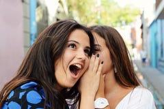 Two best friends shares secrets. stock photo