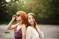 Two Best Friends Teen Girls Staying Together Stock Photography