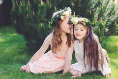 Two Best Friends Together In Garden Royalty Free Stock Images