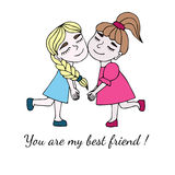 Two best friends together with inscription You are my best frien Royalty Free Stock Images
