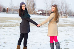 Two best friends walking together in the snow Royalty Free Stock Photography