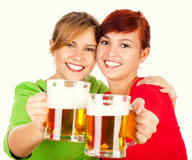 Two the best girl friends with beer Royalty Free Stock Images