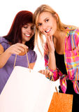 Two the best girl friends with shopping bags Stock Photos