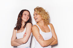 Two best girlfriends  having fun Stock Images