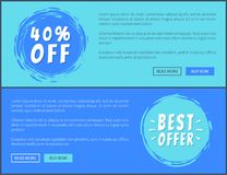Two Best Offer 40 Percent Off Promotion Posters. Vector illustration with ad text, colorful push-buttons and stickers isolated on blue background Stock Images