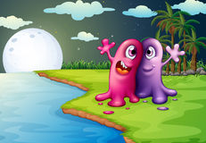 Two bestfriends at the riverbank. Illustration of the two bestfriends at the riverbank Stock Photography