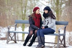 Two Bestfriends Sitting on a Park Bench Stock Photography