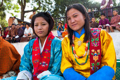 Two bhutanese women at the yearly dance fetival of Wangdi Stock Images