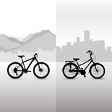 Two bicycle. Bikes on the abstract landscape background Stock Image