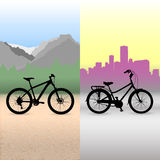 Two bicycle. Bikes on the abstract landscape background Stock Photos