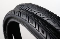 Two bicycle tires Stock Image