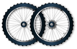 Two Bicycle Wheels Stock Photos