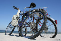 Two bicycles. On a beach Royalty Free Stock Photos