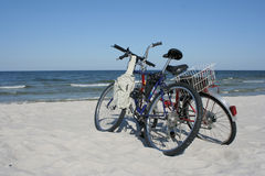 Two bicycles. On a beach Royalty Free Stock Image