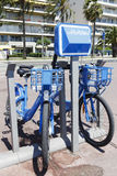 Two bicycles for hire at Promenade des Anglais Stock Image