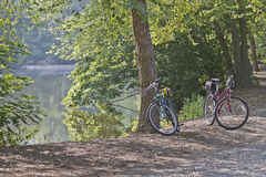 Two Bicycles By a Lake Royalty Free Stock Photography